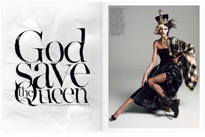 Anja Rubik w sesji dla sierpniowego Vogue Paris - Good Save The Queen