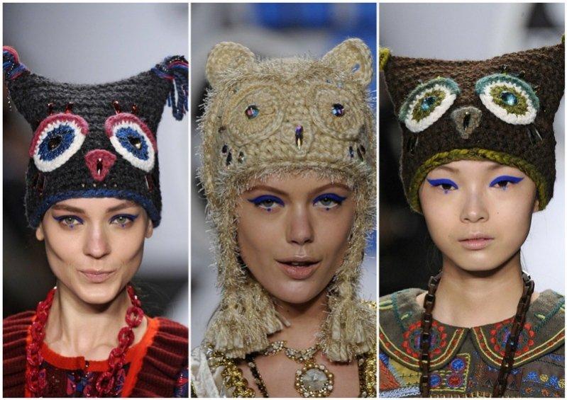 Trendy jesien zima 2012/13 - czapki na pokazie Anna Sui