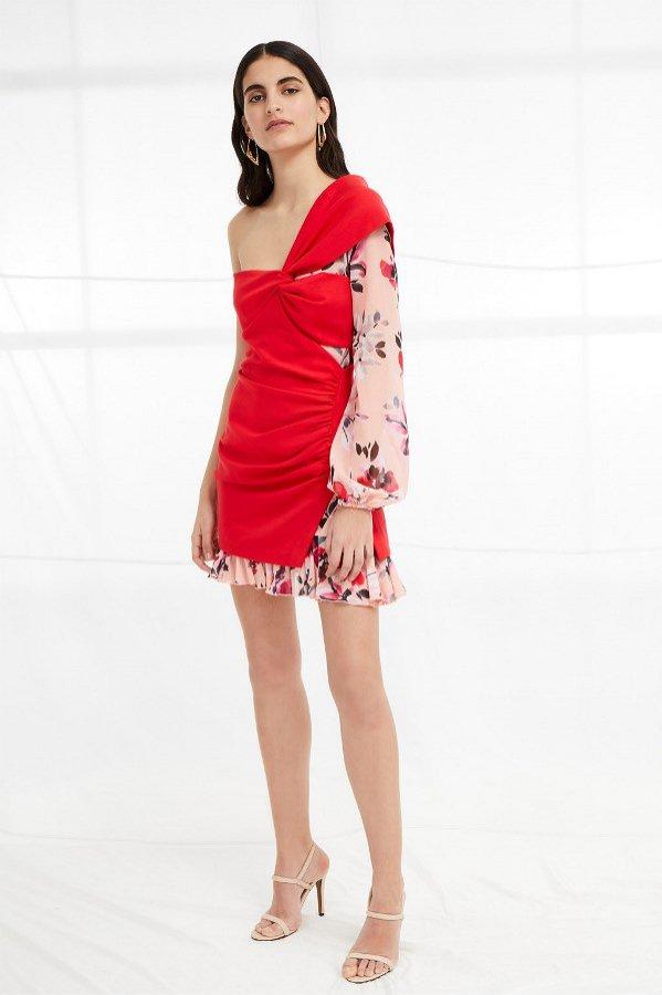 Asymetryczna sukienka z łączonych materiałów, French Connection, 55 funtów