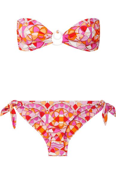 Kolorowe bikini bandeau, Emiolio Pucci/Net-a-Porter, 375 eur