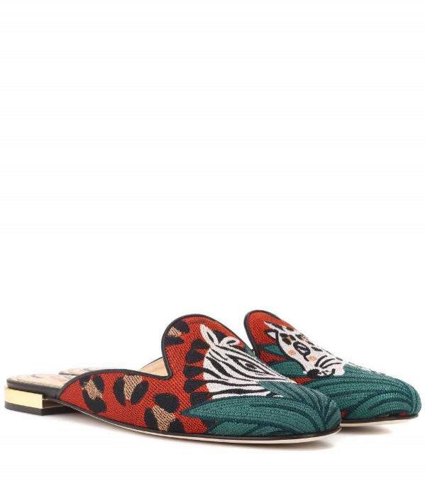 Pantofle w cętki, Charlotte Olympia, 400 euro