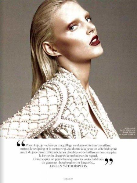 Anja Rubik w makijażu wykonanym przez Janeen Whiterspoon dla Vogue Paris