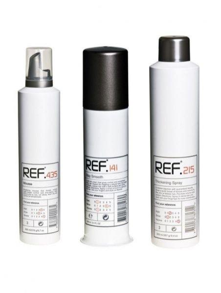 koktajl do stylizacji włosów REF - Bezkresna Noc -  Połącz w dłoni Thickening Spray 215 i Mousse 435,  rozprowadź na wilgotnych włosach, susz włosy z głową pochyloną do przodu. Prawie suche włosy nawiń na duże wałki, dopiero gdy będą całkowicie suche zdejmij wałki, na niesforne kosmyki nałóż Stay Smooth 141.