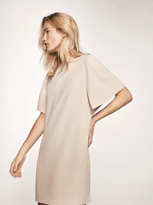 Prosta beżowa sukienka z rękawkiem, Massimo Dutti, 449 pln