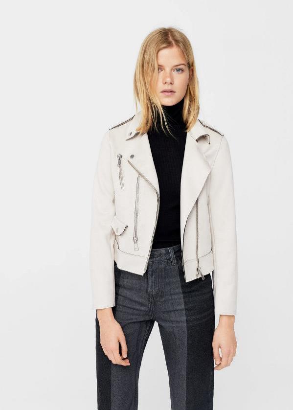 Biała kurtka biker, Mango, 139 pln