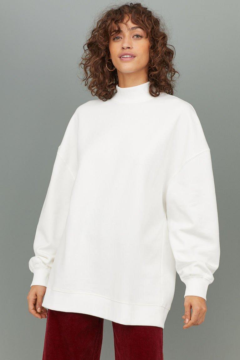 Biała bluza oversize, H&M, 80 pln
