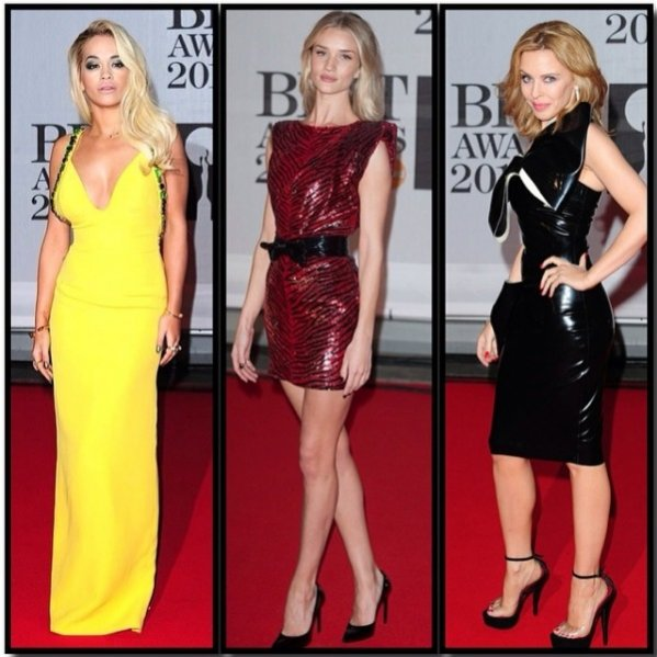 1. Rita Ora, Rosie Alice Huntington-Whiteley i Kylie Minogue na gali rozdania nagród BRIT Awards 2014