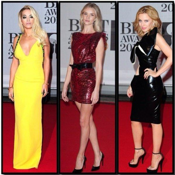 1. Rita Ora, Rosie Alice Huntington-Whiteley i Kylie Minogue na gali rozdania nagród BRIT Awards 2014