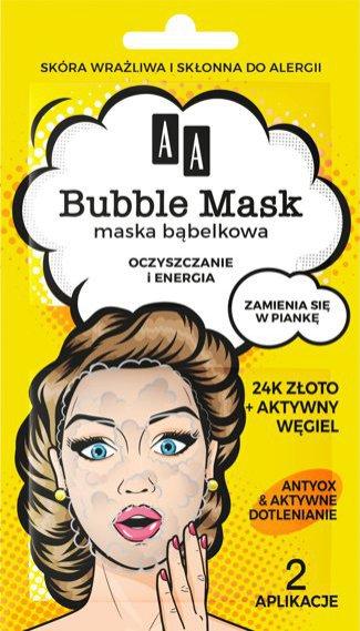 Bubble Mask AA, jednorazowa maseczka do twarzy, 8 pln