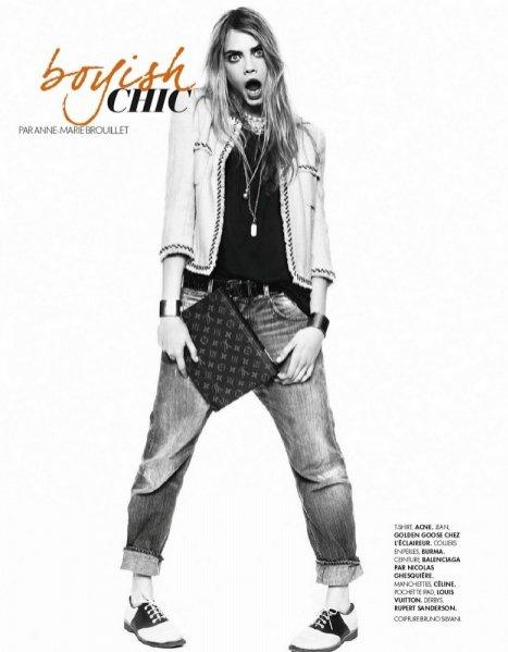 Cara Delevinge w sierpniowym Elle France