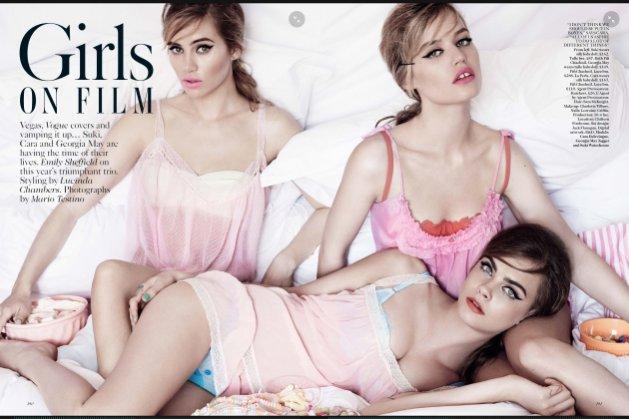 1. Sesja okładkowa z kwietniowego Vogue UK - Suki Waterhouse, Cara Delevingne, Georgia May Jagger