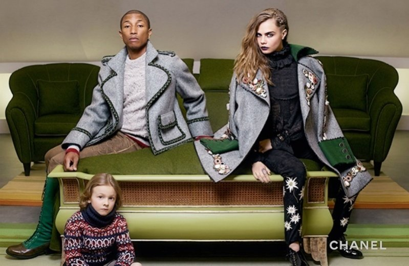 1. Cara Delevingne i Pharrell Williams w kampanii Chanel pre-fall 2015