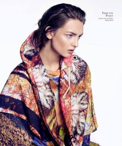 Daga Ziober w chuście Filip von Polen w sesji Magdaleny Łuniewskiej dla Harper's Bazaar Polska, wrzesień 2013