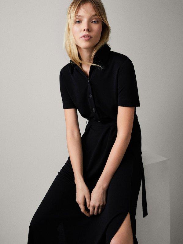 Czarna sukienka z guzikami, Massimo Dutti, 299 pln
