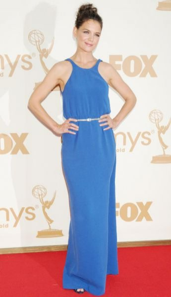 Katie Holmes na rozdaniu nagród Emmy w sukni marki Calvin Klein Collection by Francisco Costa