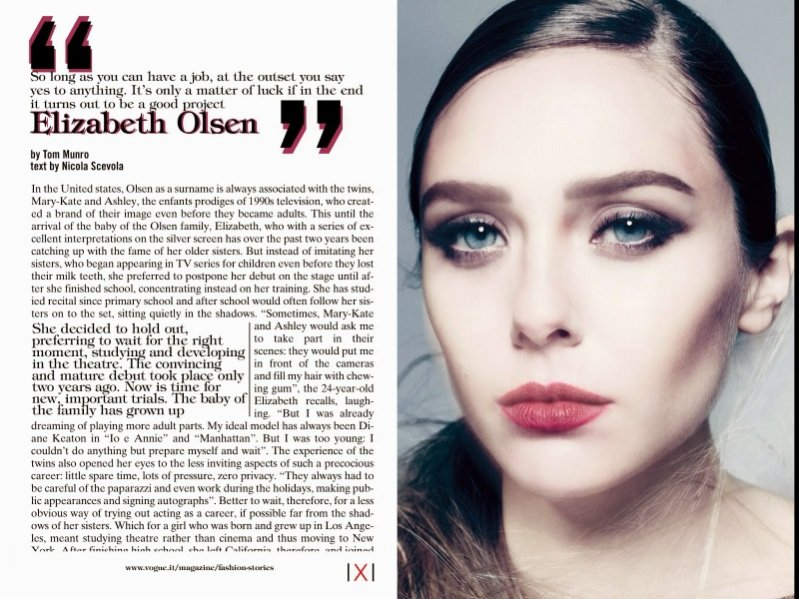 1. Elizabeth Olsen dla Vogue Italia December 2013