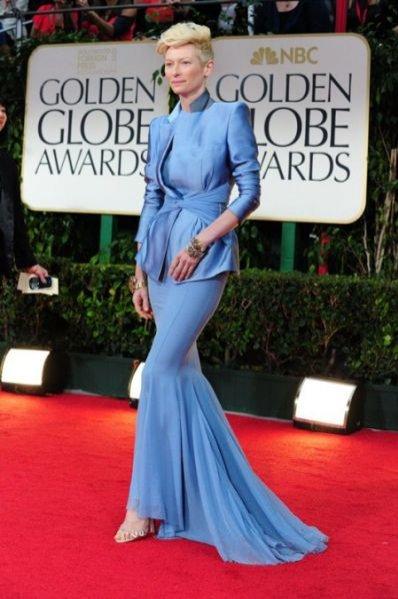 Tilda Swinton na gali rozdania Złotych Globów 2012