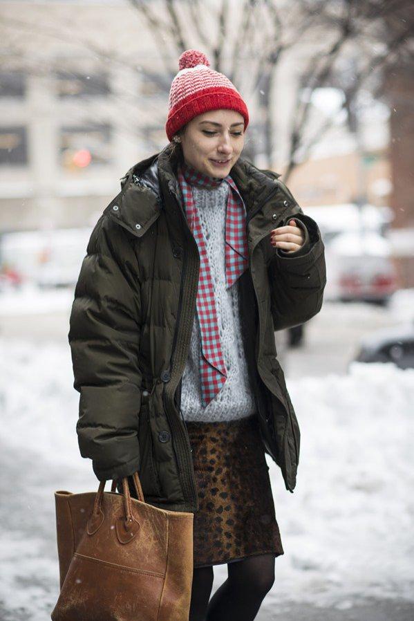 Stylowe puchówki na zimę - moda uliczna (1)