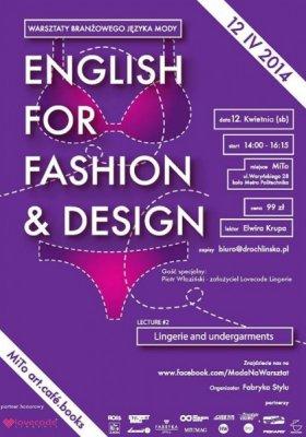 """WARSZTATY BRANŻOWEGO JĘZYKA MODY """"ENGLISH FOR FASHION & DESIGN"""""""