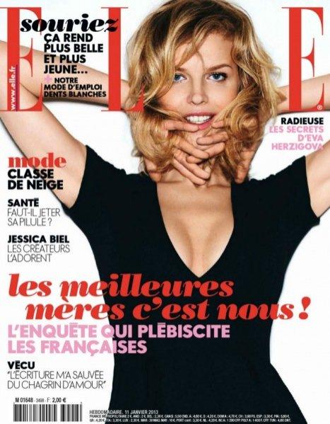 Eva Herzigová w styczniowy wydaniu Elle France