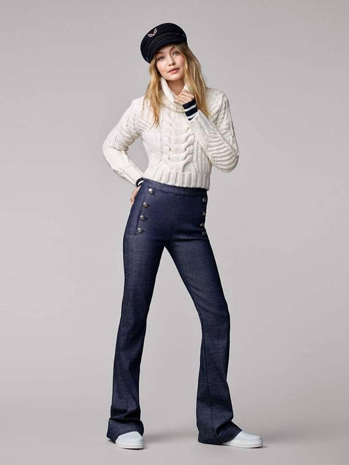 Kolekcja Tommy x Gigi (sweter i spodnie z wysokim stanem)