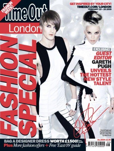 Gareth Pugh i Daphne Guinness na okładce magazynu Time Out London,luty 2009