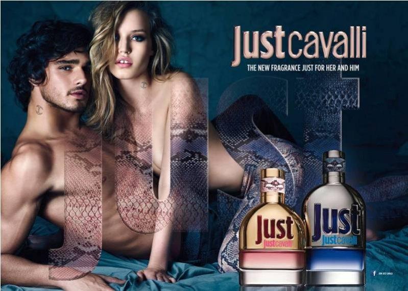 Marlon Texeira  i Georgia May Jagger w kampanii zapachów Just Cavalli dla niej i dla niego