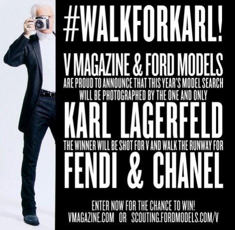 V Magazine - casting na modelkę Karla Lagerfelda