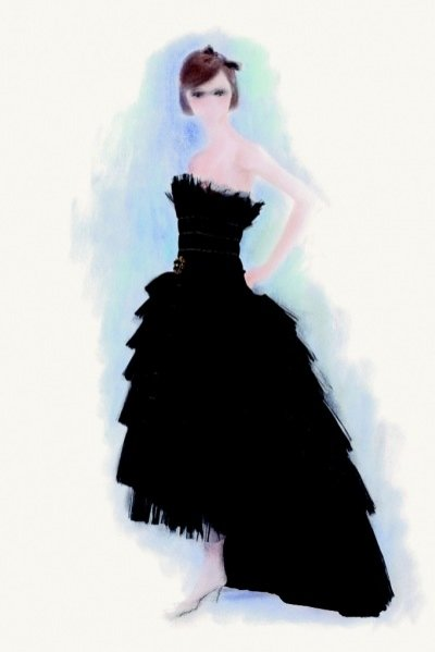 Ręcznie  kolorowany szkic sylwetki Chanel - Karl Lagerfeld