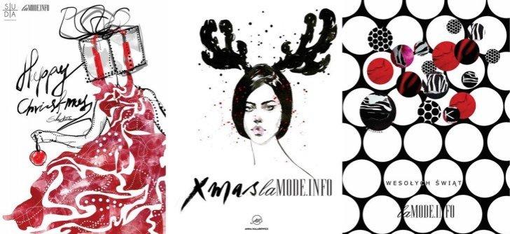 Świąteczne kartki LAMODE.INFO autorstwa (od lewej) Mateusza Sudy, Anny Halarewicz i Agnieszki Stopyry