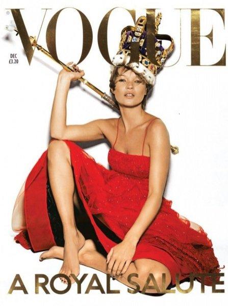 Kate Moss na okładce British Vogue, grudzień 2001