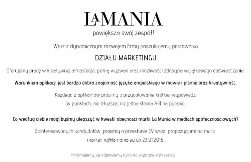Oferta pracy w dziale marketingu marki La Mania