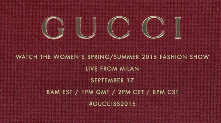 Livestreaming pokazu Gucci wiosna lato 2015 prosto z Mediolanu!