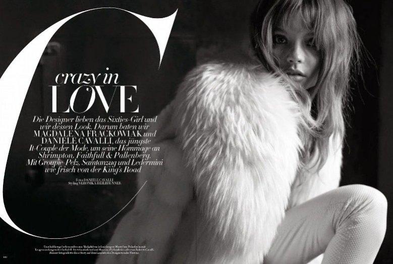 """1. Magdalena Frąckowiak w edytorialu """"Crazy in love"""" w październikowym Harper's Bazaar Germany"""