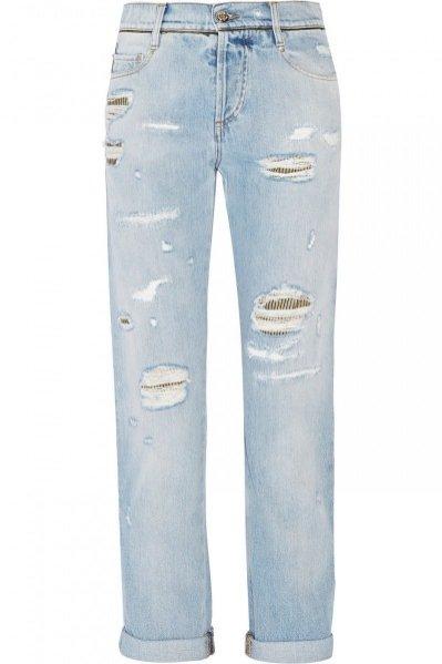 1. Roberto Cavalli, Brocade-paneled distressed mid-rise boyfriend jeans, cena ok. 3500 zł