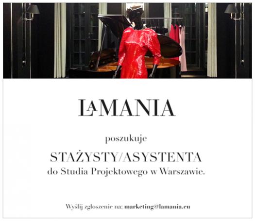 Oferta stażu w studiu projektowym marki La Mania