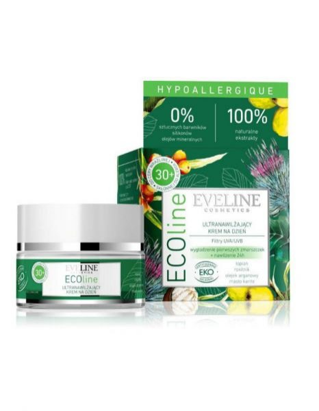 ECOline Eveline Cosmetics - ultranawilżający krem na dzień z łopianem i rokitnikiem