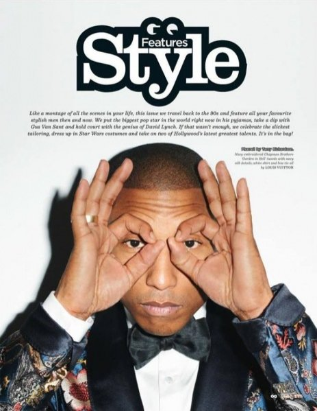 Pharell Williams dla GQ STYLE UK F/W 13.14