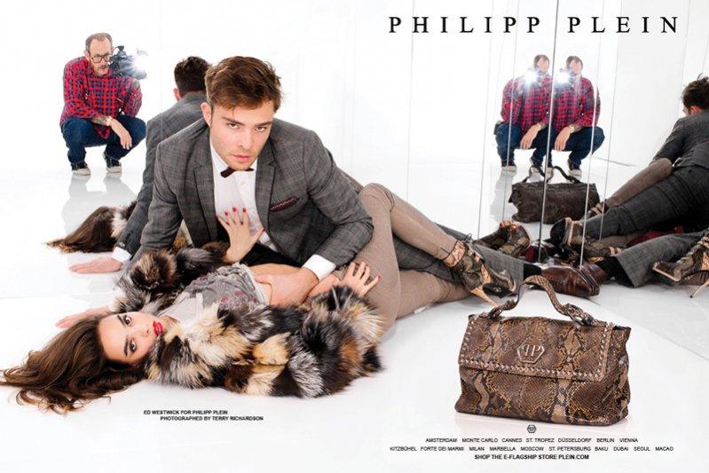 Ed Westwick w reklamie Philip Plein fotgorafowanej przez Terry'ego Richardsona