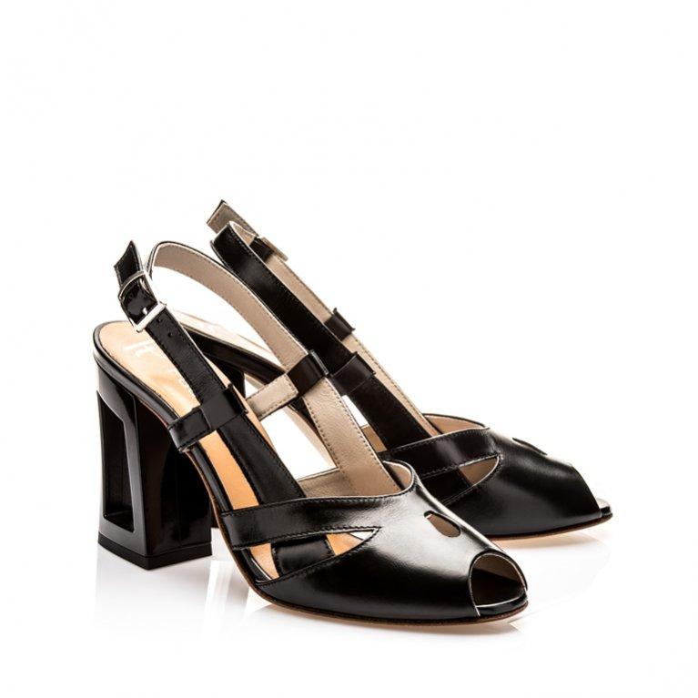 Pauline Twig - skórzane sandałki na obcasie