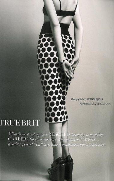 Agyness Deyn w sesji True Brit w Elle UK