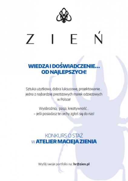 Konkurs na staż w atelier Macieja Zienia