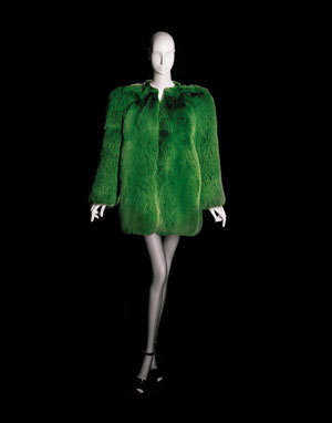 Yves Saint Laurent, Short evening coat, haute couture collection, Spring-Summer 1971. Green fox fur. ©Fondation Pierre Bergé-Yves Saint Laurent, Paris / Photo A. Guirkinger