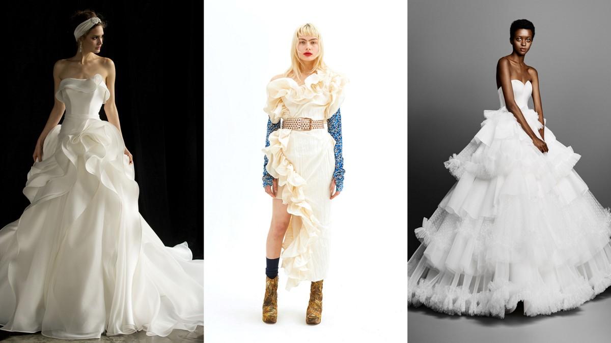 43431ad0a21d6 Suknie ślubne wykończone falbanami: Valentini Spose, Vivienne Westwood,  Viktor & Rolf
