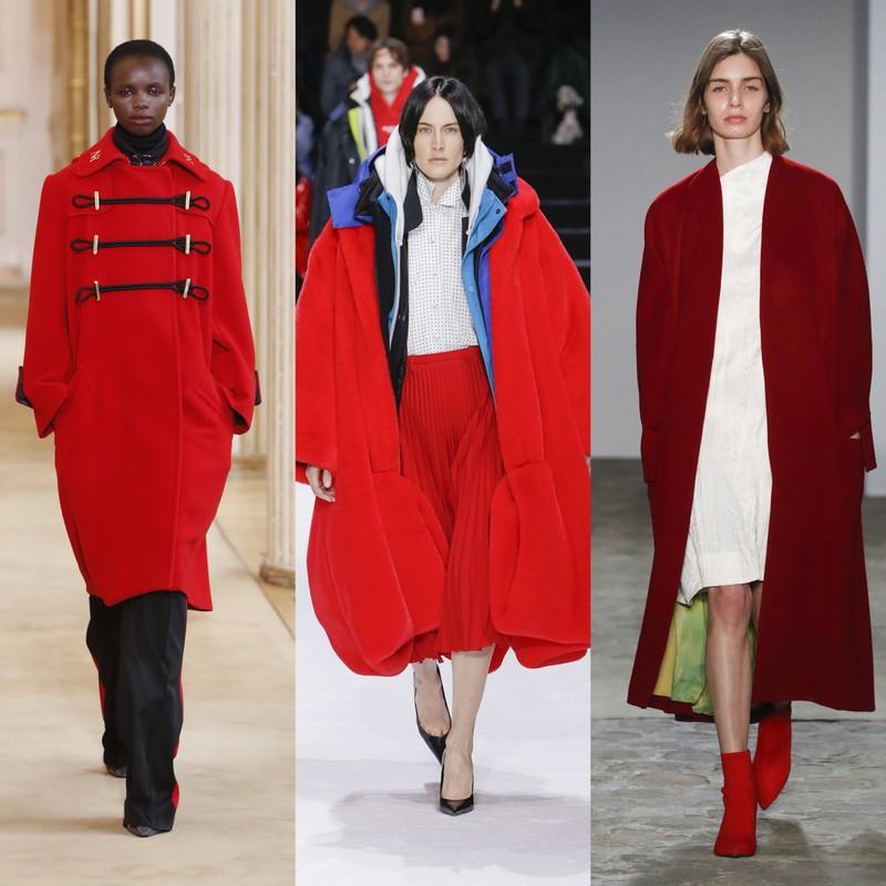 ad8ecb10df7f Z czerwonych okryć wierzchnich najmodniejsze są płaszcze o prostej formie
