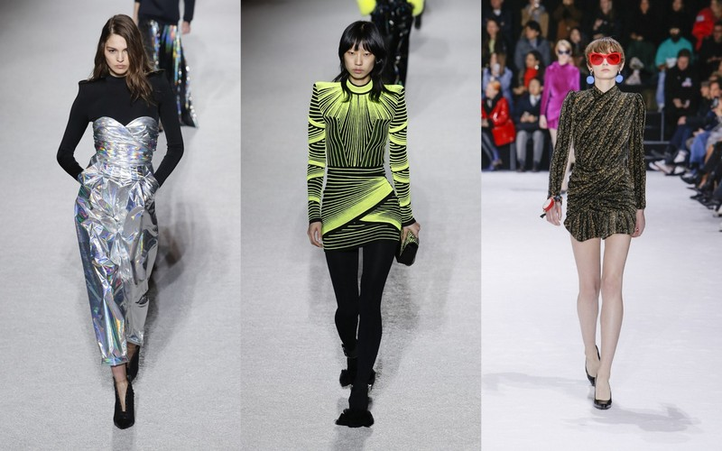 696485b495 Najmodniejsze sukienki w futurystycznym klimacie to te krótkie i z  poszerzanymi ramionami