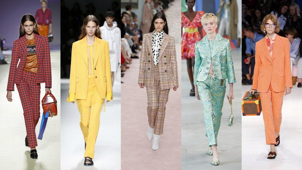 4a284fd169 KOLOROWE GARNITURY – TRENDY WIOSNA LATO 2019. Damskie garnitury w mocnym  kolorze  Versace