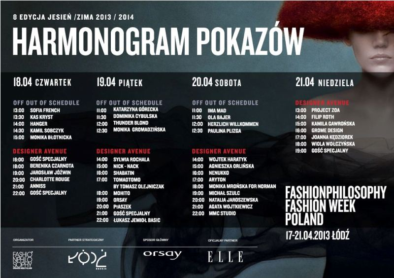 HARMONOGRAM 8 EDYCJI FASHIONPHILOSOPHY FASHION WEEK POLAND
